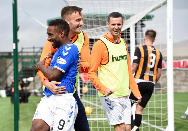 Rangers Jermain Defoe celebrates with substitute Andy King after scoring the first goal at East Fife. Pic: PA