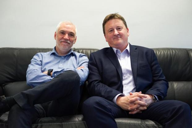 Colin West, right, pictured with Eyecademy operations director Brian Rutherford, with whom he founded the business amid challenging economic conditions.