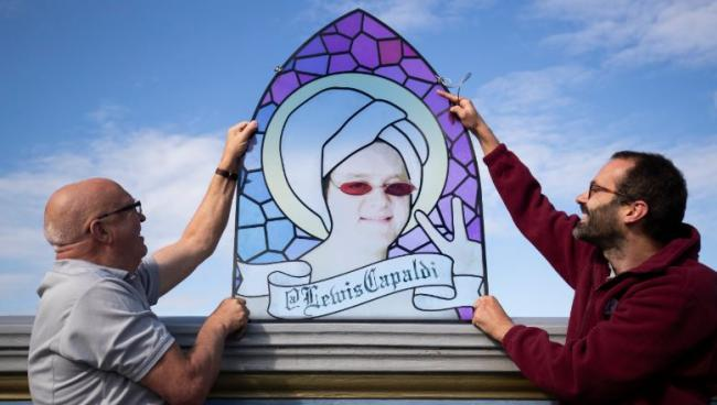 Lewis Capaldi stained glass window in Twitter display