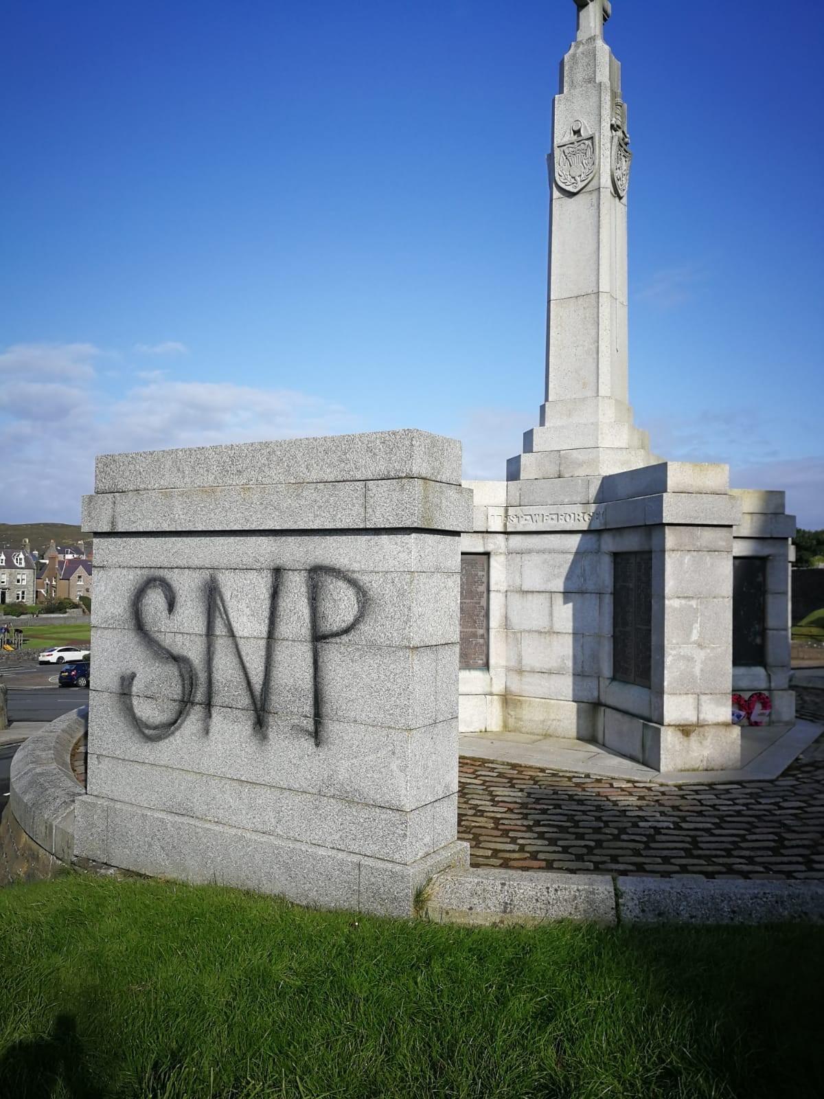 Shetland byelection turns ugly as SNP graffiti sprayed on war memorial
