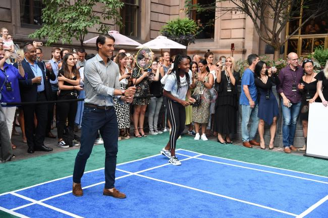 "Rafael Nadal and Cori ""Coco"" Gauff play badminton in New York City. Picture: Getty"