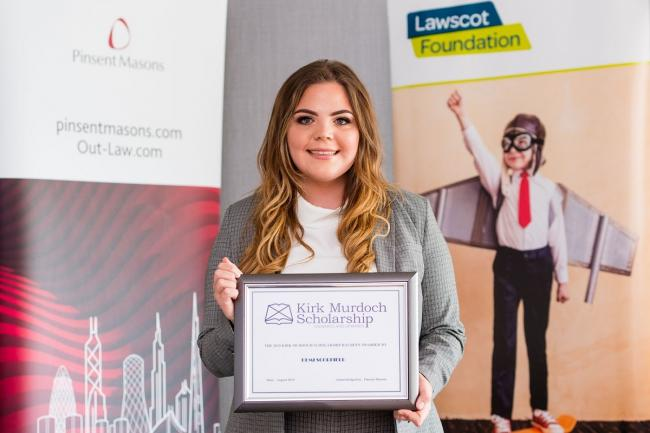 Edinburgh University student Demi Scorfield is the first recipient of a scholarship named in honour of late Pinsent Masons partner Kirk Murdoch.