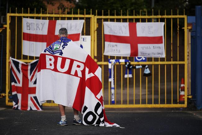 ***GETTY BESTPIX*** BURY, ENGLAND - AUGUST 27: Supporter seen at Bury's Gigg Lane ground following a decision by C&N Sporting Risk, saying it was unable to continue with its takeover of the club on August 27, 2019 in Bury, England. Bury Football C