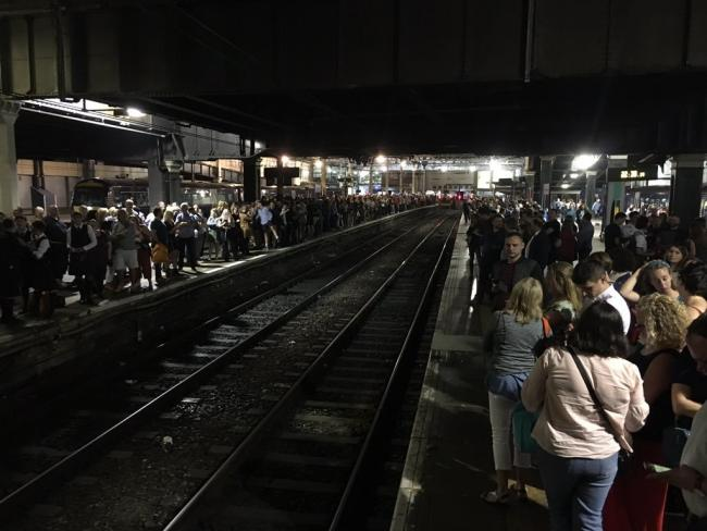 Scene at Waverley Station late last Saturday. Picture: Lynda Sirel