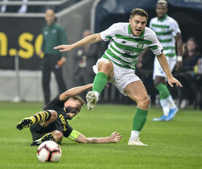 James Forrest skips past Seb Larsson as he produced another wonderful European display