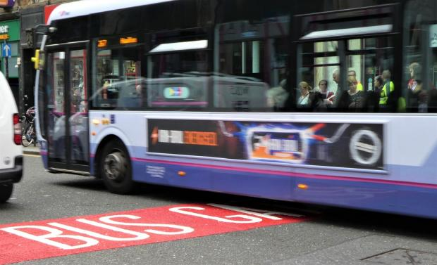 HeraldScotland: Fresh paint alerts road users to the bus gate