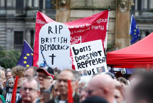 Demonstrators at the #StopTheCoup rally in Glasgow last Saturday.