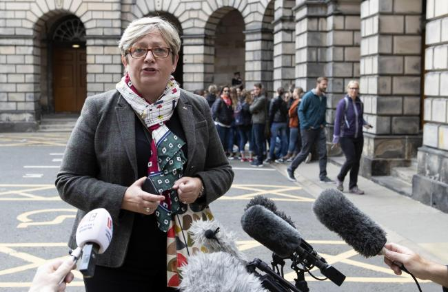 SNP MP Joanna Cherry outside the Court of Session in Edinburgh where parliamentarians were seeking an interim interdict through the Scottish legal system that would prevent the UK Parliament being suspended. Their request was declined by Lord Doherty who