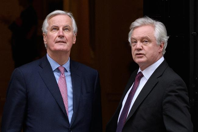 European Union Chief Negotiator Michel Barnier with then Brexit Secretary David Davis at a meeting in London in February, 2018.