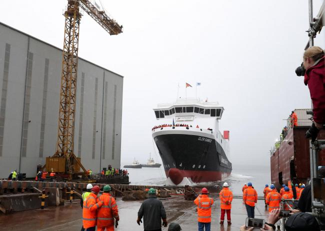The launch of the as-yet unfinished Glen Sannox at Ferguson Marine in 2017.