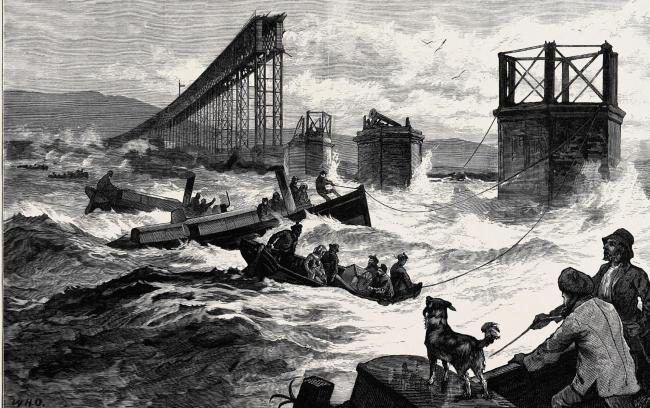 An illustration of the Tay Bridge disaster