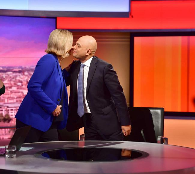 Chancellor Sajid Javid greets former Work and Pensions Secretary Amber Rudd on The Andrew Marr Show. Picture: BBC