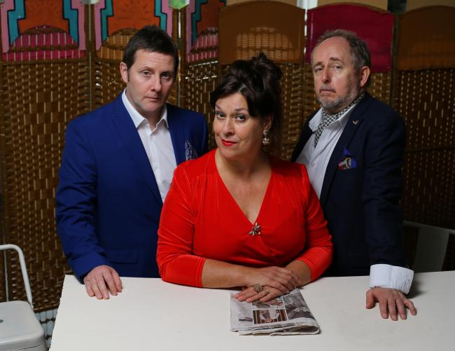 A Play, a Pie and a Pint production of Number One Fan. Pictured are cast, from left- David McGowan , Joyce Falconer and Callum Cuthbertson..  Photograph by Colin Mearns.5 September 2019..