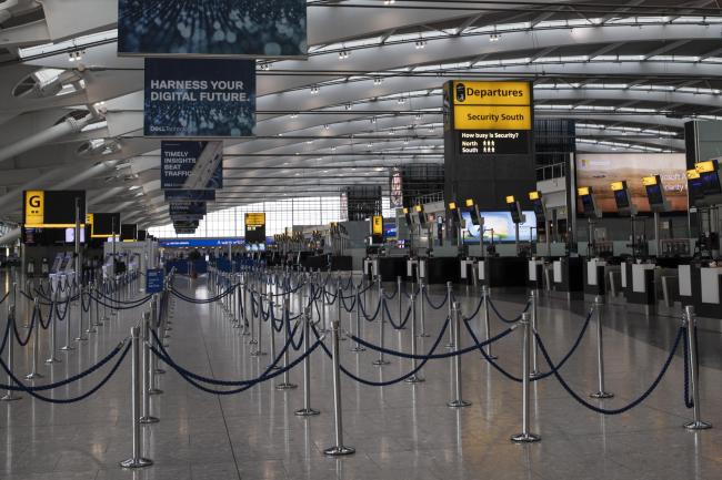 A largely empty Heathrow Terminal 5 yesterday after BA pilots started their 48-hour 'walkout'.