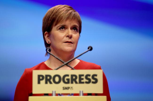 First Minister Nicola Sturgeon delivers her keynote speech at the Scottish National Party conference at the SEC Centre in Glasgow. PRESS ASSOCIATION Photo. Picture date: Tuesday October 10, 2017. See PA story POLITICS SNP. Photo credit should read: Jane B