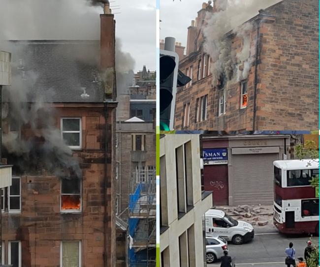 Images from @mikejohngray and @AirePerry on Twitter of major blaze at Edinburgh property