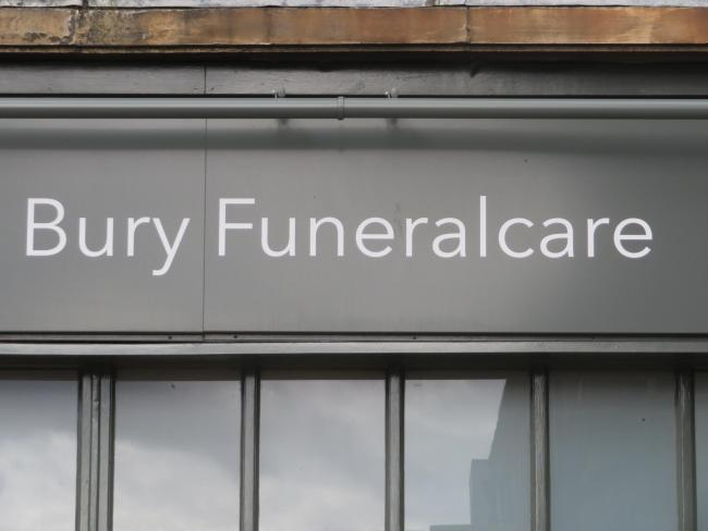 Eagle eyed newspaperman, Gordon Casely, spotted this sign in Bury, Lancashire. Surely there can't be a more appropriately-named town in which to slip the mortal coil.