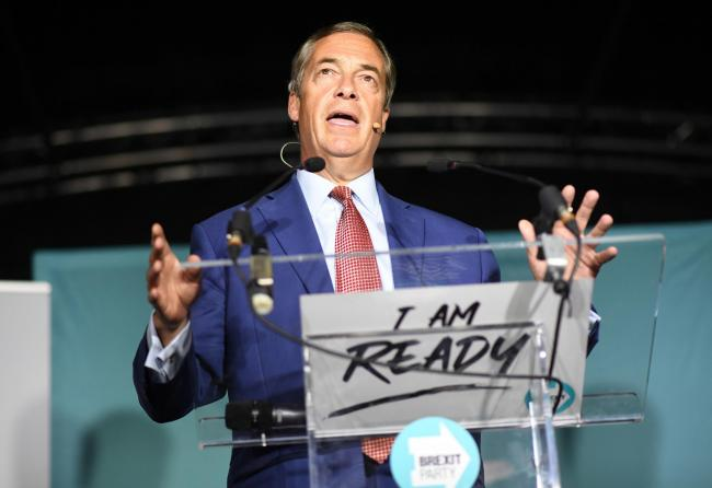 Brexit Party leader Nigel Farage speaks during the party's 'We Are Ready' event at Colchester United Football Club in Essex. PRESS ASSOCIATION Photo. Picture date: Monday September 2, 2019. See PA story POLITICS Brexit. Photo credit should rea