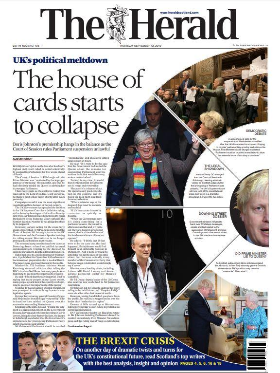 HeraldScotland: The front page of today's edition