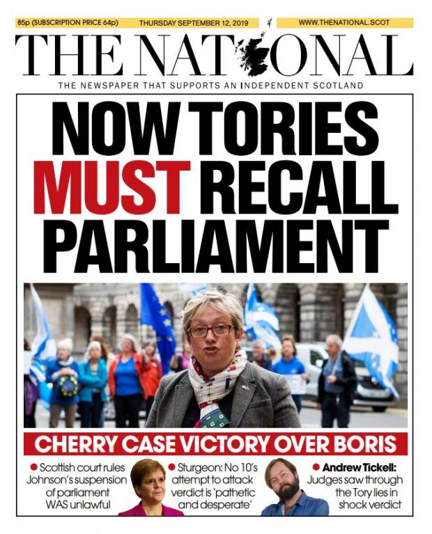 HeraldScotland: Front page of our sister paper The National