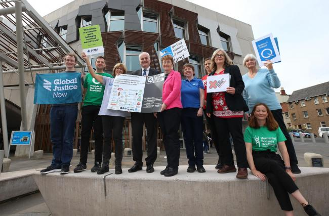 Stop Climate Chaos supporters were at Holyrood to demand stronger action in the Climate Change Bill.