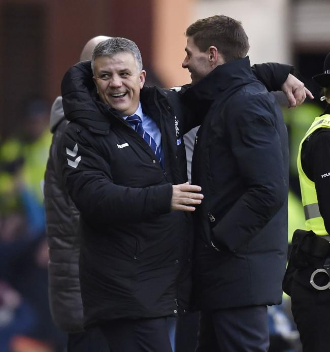 Rangers manager Steven Gerrard (right) with departed Director of Football Mark Allen. Pic: SNS