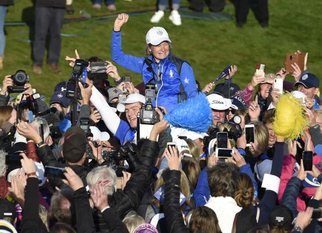 Catriona Matthew celebrates Europe's Solheim Cup win at Gleneagles