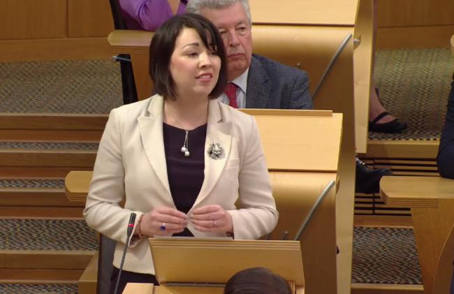 Monica Lennon MSP (Lab) speaking about late father during FMQs today, Thursday Sept 7th 2017..Picture- Scottish parliament TV.