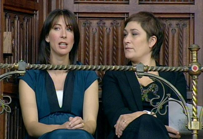 Samantha Cameron (left) and Michael Gove's wife Sarah Vine picutred in 2010 after reports their husbands had rowed over Brexit. Pic: PA Wire