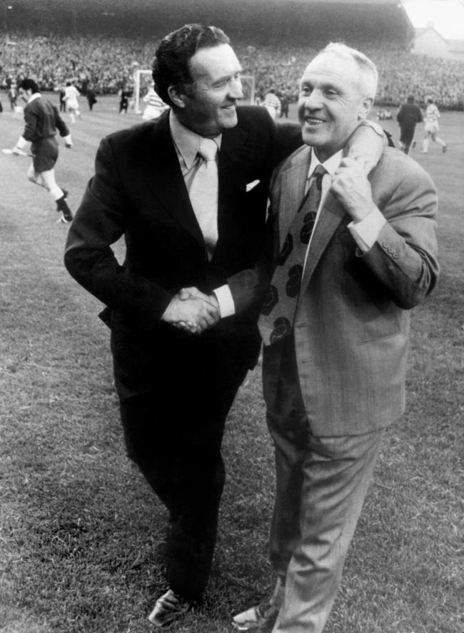Celtic legend Jock Stein, left, with then Liverpool manager Bill Shankly.