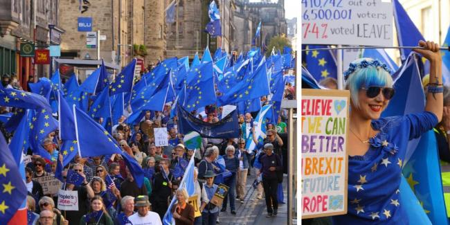 Pro-Europe protesters march through the streets of Edinburgh