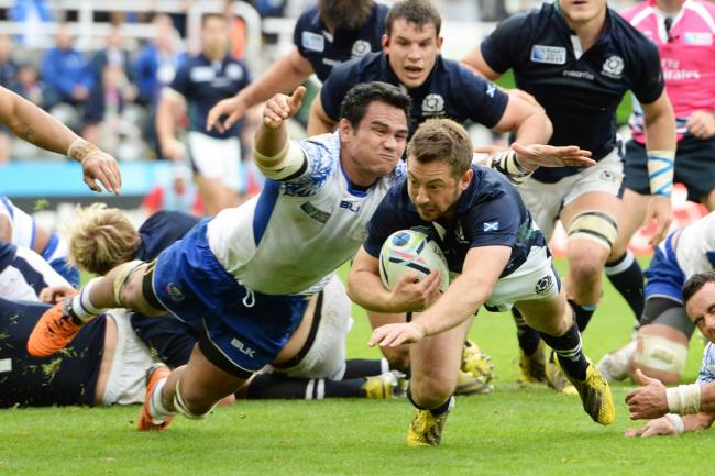 Greig Laidlaw crosses the line against Samoa in 2015