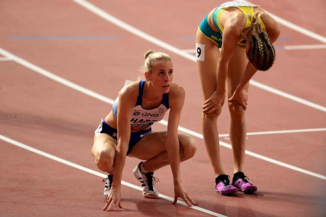 Great Britain's Lynsey Sharp is stunned after failing to qualify for the 800m semi-finals