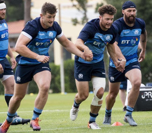 Scotland's Magnus Bradbury, left, and Blade Thomson, right, have been selected to take the game to Samoa tomorrow, while Duncan Taylor, centre, drops to the bench