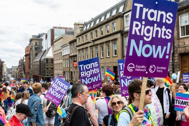 Activists at a Pride Glasgow rally make their feelings known.