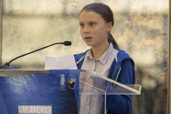 Swedish climate activist Greta Thunberg speaks during a Blue Leaders breakfast briefing focused on the release of and Intergovernmental Panel on Climate Change Special Report on the Ocean and Cryosphere In a Changing Climate, Wednesday, Sept. 25, 2019, in
