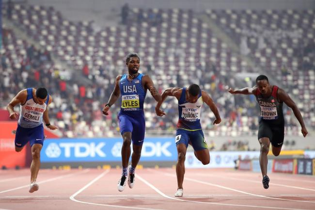 Noah Lyles wins the men's 200m final in front of tens of thousands of empty seats. Picture: Getty