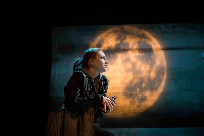 Naomi Stirrat as Roman Stornoway in Dogstar Theatre's production of The Stornoway Way by Kevin MacNeill. Image by Leila Angus