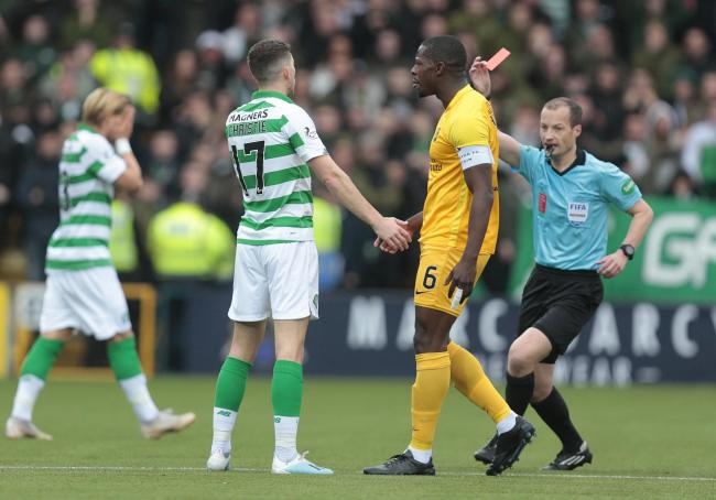 Celtic fell to defeat at Livingston after Ryan Christie's early red card.