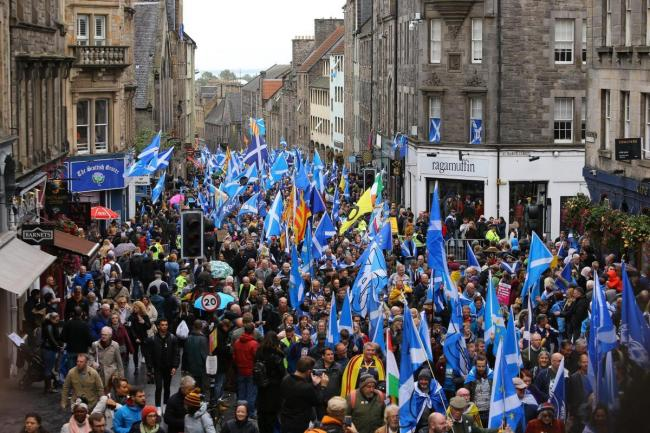 The pro-independence march in Edinburgh.