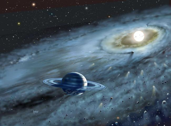 Artist's impression of the Fomalhaut planetary system. Astronomers led by Dr. Wayne Holland of the UK Astronomy Technology Centre (UK ATC) in Edinburgh have said October 10, 2002, said that they have discovered the wake of a planet travelling round th