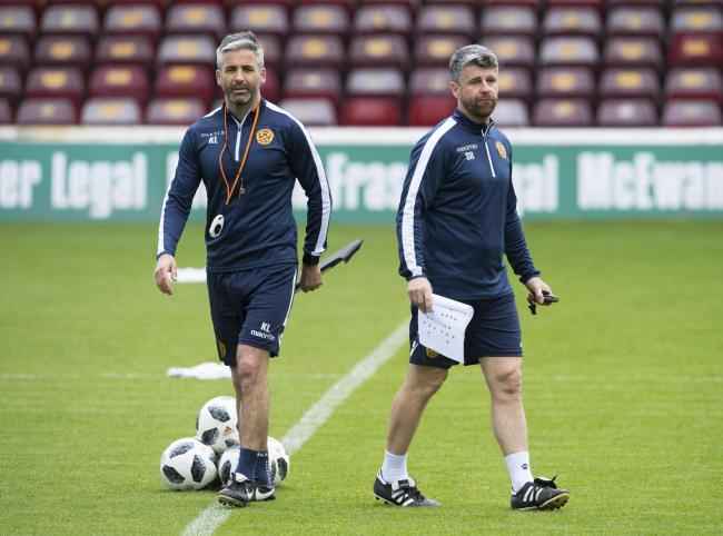 Motherwell manager Stephen Robinson, right, and assistant Keith Lasley, left PHOTO: PA