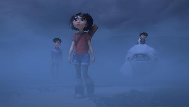 Jin (voiced by Tenzing Norgay Trainor), Yi (Chloe Bennet), Peng (Albert Tsai) and Everest the Yeti. PA Photo/DreamWorks Animation LLC