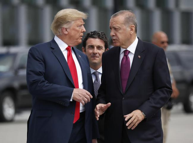 Turkish President Recep Tayyip Erdogan, left, with US President Donald Trump.