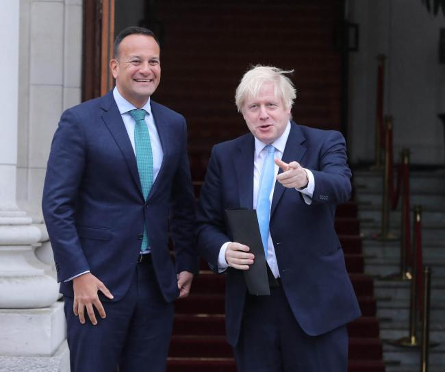 Prime Minister Boris Johnson meets Taoiseach Leo Varadkar in Government Buildings during his visit to Dublin. PA Photo. Picture date: Monday September 9, 2019. See PA story POLITICS Brexit Meeting. Photo credit should read: Niall Carson/PA Wire.