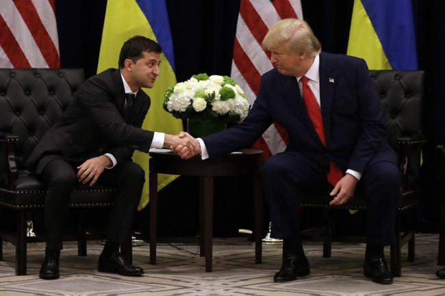 President Donald Trump meets with Ukrainian President Volodymyr Zelenskiy at the InterContinental Barclay New York hotel during the United Nations General Assembly, Wednesday, Sept. 25, 2019, in New York. (AP Photo/Evan Vucci).