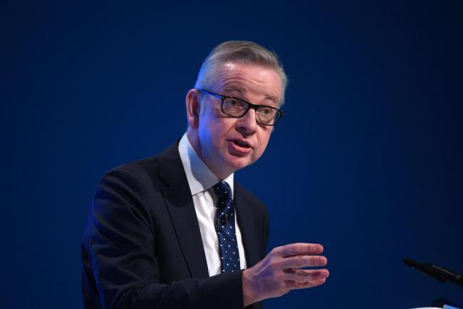 Chancellor of the Duchy of Lancaster Michael Gove speaking at the Conservative Party Conference being held at the Manchester Convention Centre. PA Photo. Picture date: Sunday September 29, 2019. See PA story TORY Main. Photo credit should read: Stefan Rou