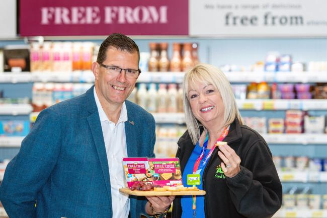 Bute Island Foods has been awarded a supply contract by Asda for the 'free-from' cheese range. Yvonne McArthur, of Asda's Scottish buying team, is pictured with Francois Lintermans, of Bute Island Foods.