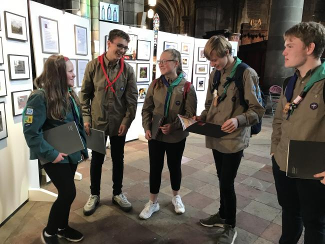 Members of Glenrothes Scouts visit the Crisis Scotland/ArtSquat Homelessness photography exhibition at St Mary's Cathedral in Edinburgh