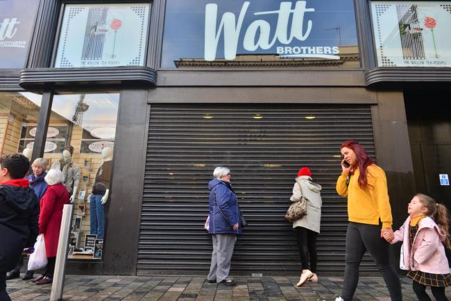 Watt Brothers Store on Glasgow's Sauchiehall Street goes into Administration as staff leave in tears..Pictures show customers standing outside the closed store..Kirsty Anderson Newsquest Herald and Times.18/10/19...